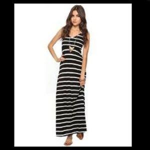 Black White Striped Nautical V Neck Maxi Dress M